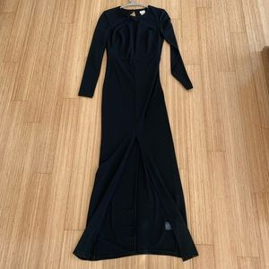 H&M black gown w front slit and open back size 6